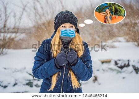Kadın düşler yaz tatili kış kar yağışı güzellik Stok fotoğraf © galitskaya