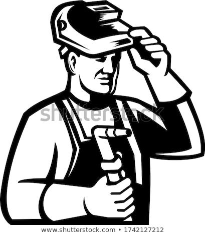 Welder Holding Welding Torch Lifting Visor Mascot Black and White Stock photo © patrimonio