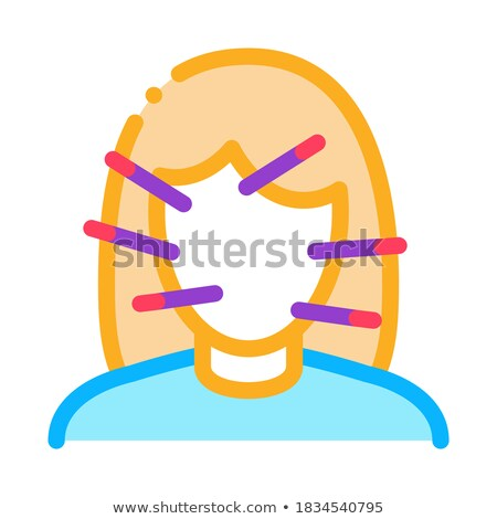 female face acupuncture icon vector outline illustration Stock photo © pikepicture