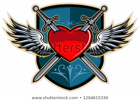 Winged heart pierced with a sword Stock photo © damonshuck