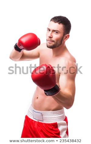 boxoló · piros · kesztyű · közelkép · portré · fitnessz - stock fotó © rosspetukhov