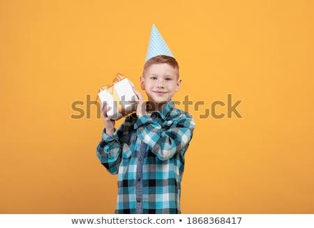 Fiú ajándék bent kíváncsi néz táska Stock fotó © lovleah