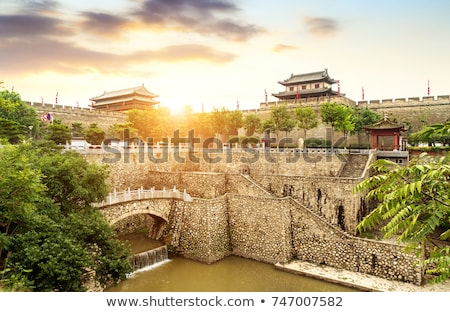 ancient city wall of xian china stock photo © bbbar