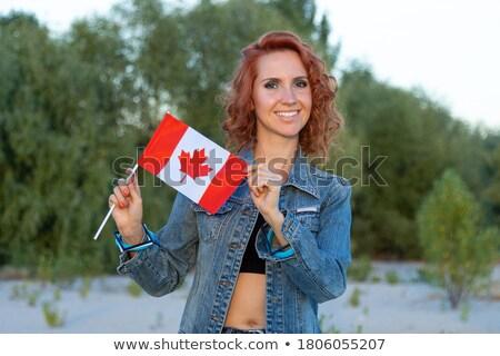 肖像 かなり 若い女性 カナダの国旗 笑みを浮かべて コピースペース ストックフォト © HASLOO