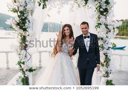 Menyasszony vőlegény esküvő nap afroamerikai divat Stock fotó © tobkatrina