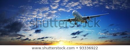 Foto stock: Jato · avião · pôr · do · sol · céu · panorâmico · alto