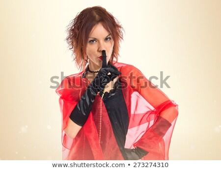 Kabaret pani palec usta sexy czarna bielizna Zdjęcia stock © adamr