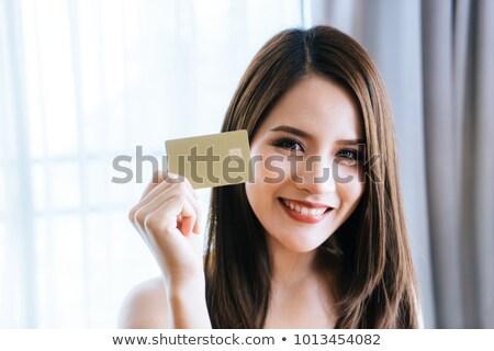 幸せ 若い女性 クレジットカード 白 少女 ストックフォト © utorro