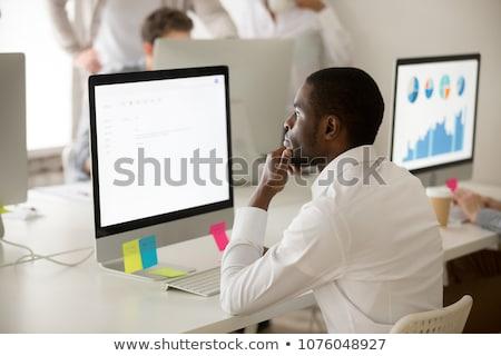 üzletember gondolkodik ül asztal felfelé néz rajzolt Stock fotó © stevanovicigor