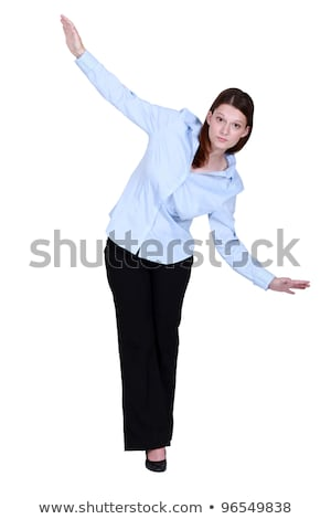 jonge · zakenvrouw · lopen · strakke · koord · vallen · witte - stockfoto © photography33