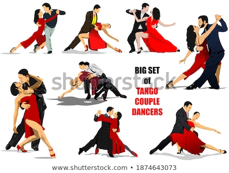 Big set of Couples dancing a tango. Vector illustration Stock photo © leonido