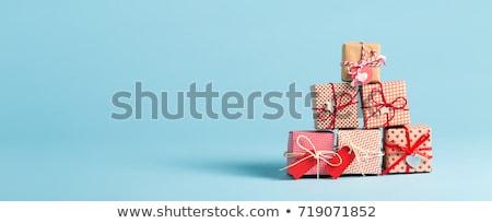 Hediye kutuları mavi beyaz Noel üç Stok fotoğraf © dariusl