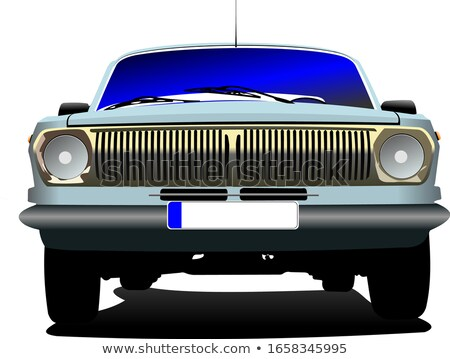 Fifty  years old blue rarity car. Vector illustration Stock photo © leonido