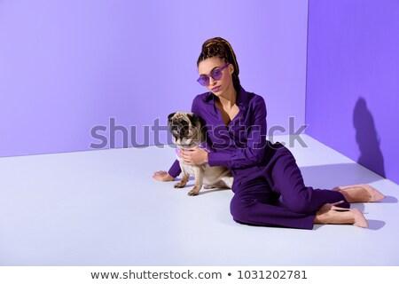Fashion girl with pug dog in studio Stock photo © mariematata