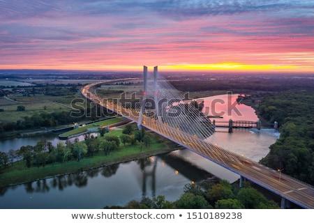 égbolt · épület · város · híd · kék · kábel - stock fotó © BrunoWeltmann