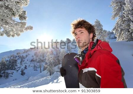 молодые · красивый · мужчина · снега · лице · человека - Сток-фото © photography33