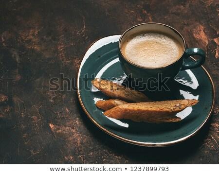 csokoládé · sütik · csésze · kávé · közelkép · asztal - stock fotó © melpomene