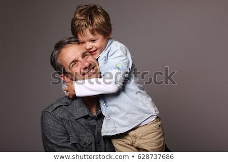 apa · fiú · portré · boldog · tart · évek - stock fotó © pumujcl