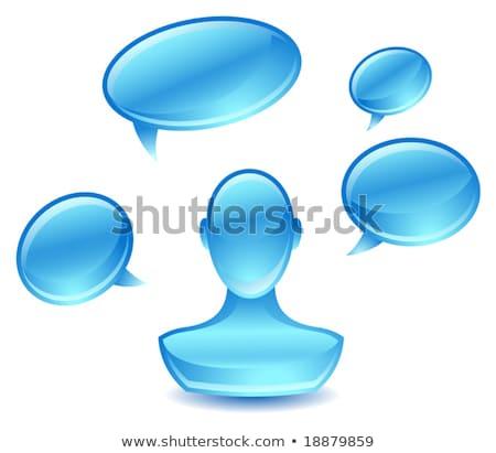 Felhasználó hozzászólások haver ikon kék férfiak Stock fotó © experimental
