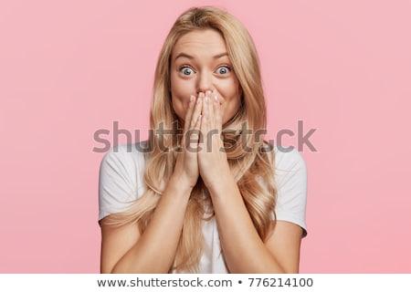 Stock fotó: Vicces · szőke · nő · megrémült · lány · arc