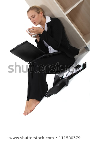 nina · café · cansado · sesión · oficina · escritorio - foto stock © photography33