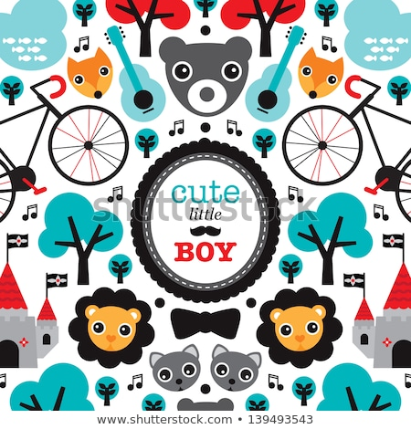 Baby boy birth announcement card template with bicycle illustration Stock photo © thecorner