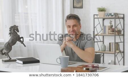 成熟した · ビジネスマン · 忙しい · 作業 · ノートブック · 白 - ストックフォト © get4net