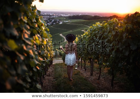 ストックフォト: 魅力的な女の子 · ガラス · ワイン · 美しい · ソファ