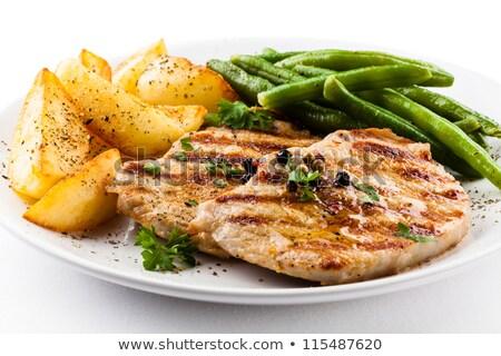Stockfoto: Plaat · groenten · frietjes · biefstuk · achtergrond · vlees