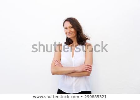 женщина улыбается белый костюм мышления женщины Сток-фото © wavebreak_media