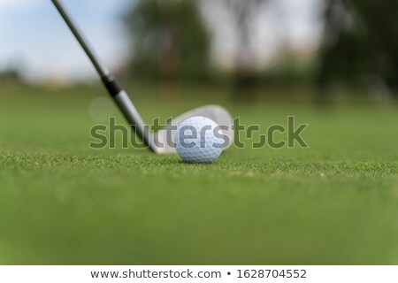 Detail of golf clubs with golfers on the green in the distance stock photo © sarahdoow