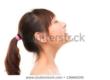 asian · vrouw · zijaanzicht · diep · adem - stockfoto © szefei