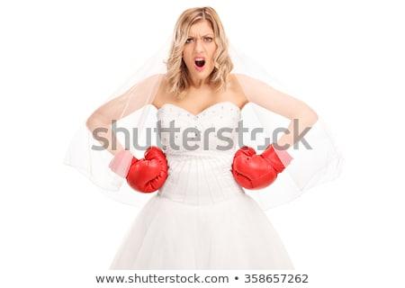 Braut · Boxhandschuhe · Frauen · Porträt · Ehe - stock foto © iofoto