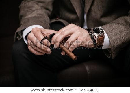 kibirli · zarif · genç · sigara · içme · sigara · siyah - stok fotoğraf © hitdelight