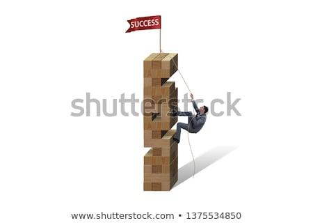 határozott · üzletember · mászik · kötél · fókuszált · akasztás - stock fotó © Rugdal