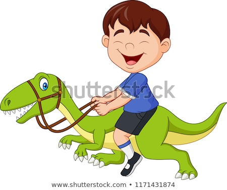 Boy riding a dinosaur Stock photo © zzve