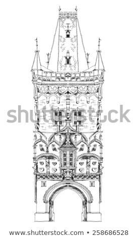 Historische architectuur Praag gebouw bomen architectuur trottoir Stockfoto © Sarkao