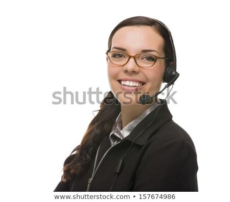 Vriendelijk halfbloed receptionist telefoon hoofd Stockfoto © feverpitch