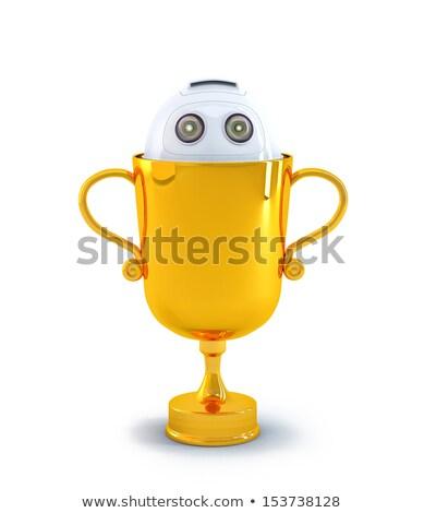Stockfoto: Robot · binnenkant · trofee · technologie · geïsoleerd · witte