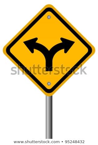 Widelec znak drogowy niebieski zielone 3d ilustracji Zdjęcia stock © make
