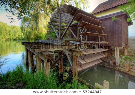 Víz malom Szlovákia folyó ősz építészet Stock fotó © phbcz