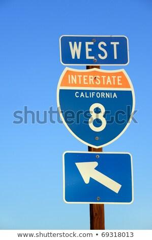 Interstate 8 Sign at the highway with blue sky stock photo © meinzahn