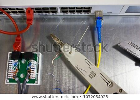 вниз инструментом компьютер сеть изолированный белый Сток-фото © zhekos