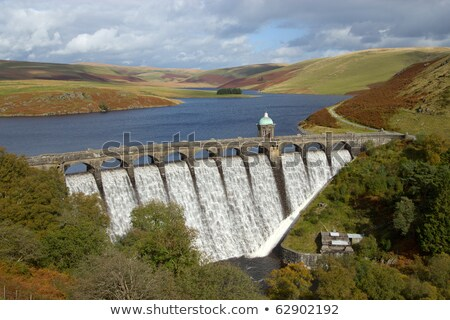 Craig Goch reservoir with water overflowing, Elan Valley, Wales. Stock photo © latent
