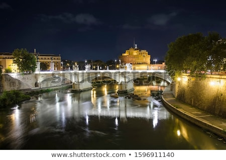 The night view of the castle and bridge of Sant'Angelo in Rome,I Stock photo © bloodua