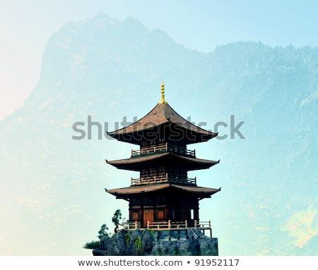 Zen buddhista templom hegyek textúra fa Stock fotó © andromeda