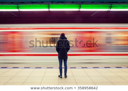 Stock photo: metro train in motion in a subway station