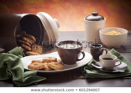 çanak · çömlek · çanak · fincan · süt · tahta · gıda - stok fotoğraf © diabluses