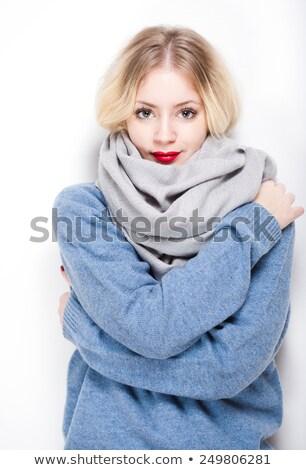 prachtig · vrouw · Blauw · trui · glimlach · mode - stockfoto © zastavkin