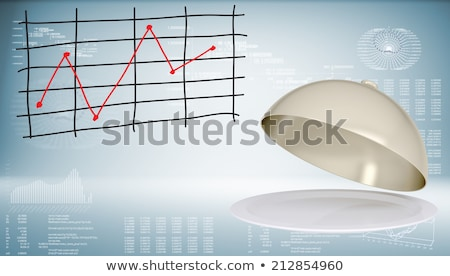 Cloche with open lid and graph of price changes Stock photo © cherezoff
